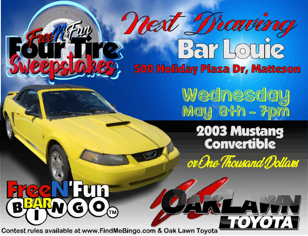 Bar Louie, 500 Holiday plaza Dr., Matteson, IL. Wednesday May 8th 7pm