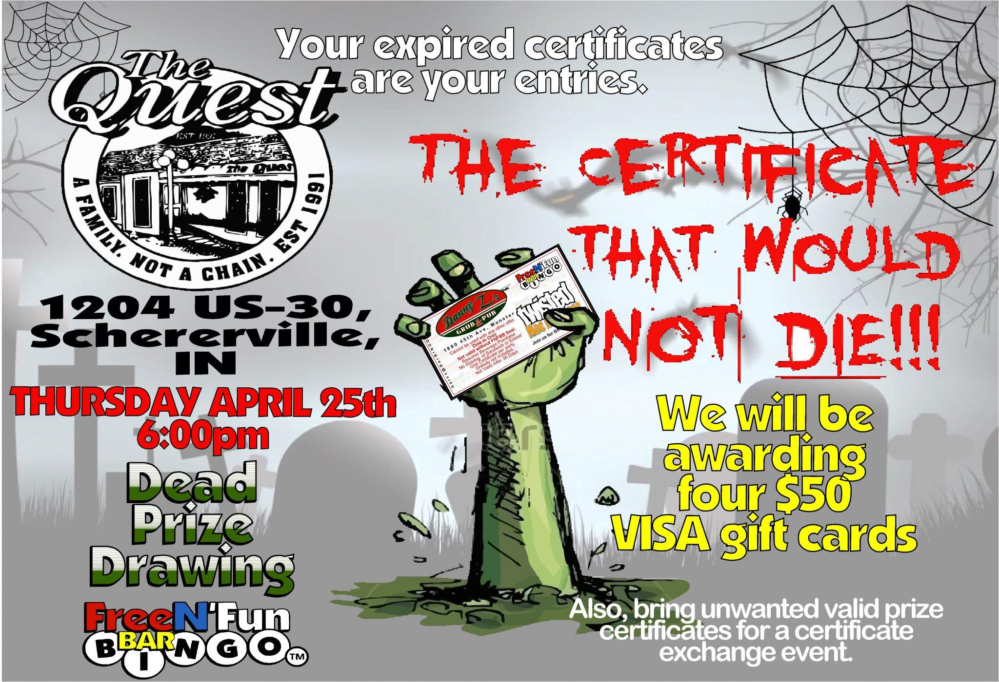 The Quest, 1204 US-30, Schereville, IN. Thursday April 25th 6:00pm