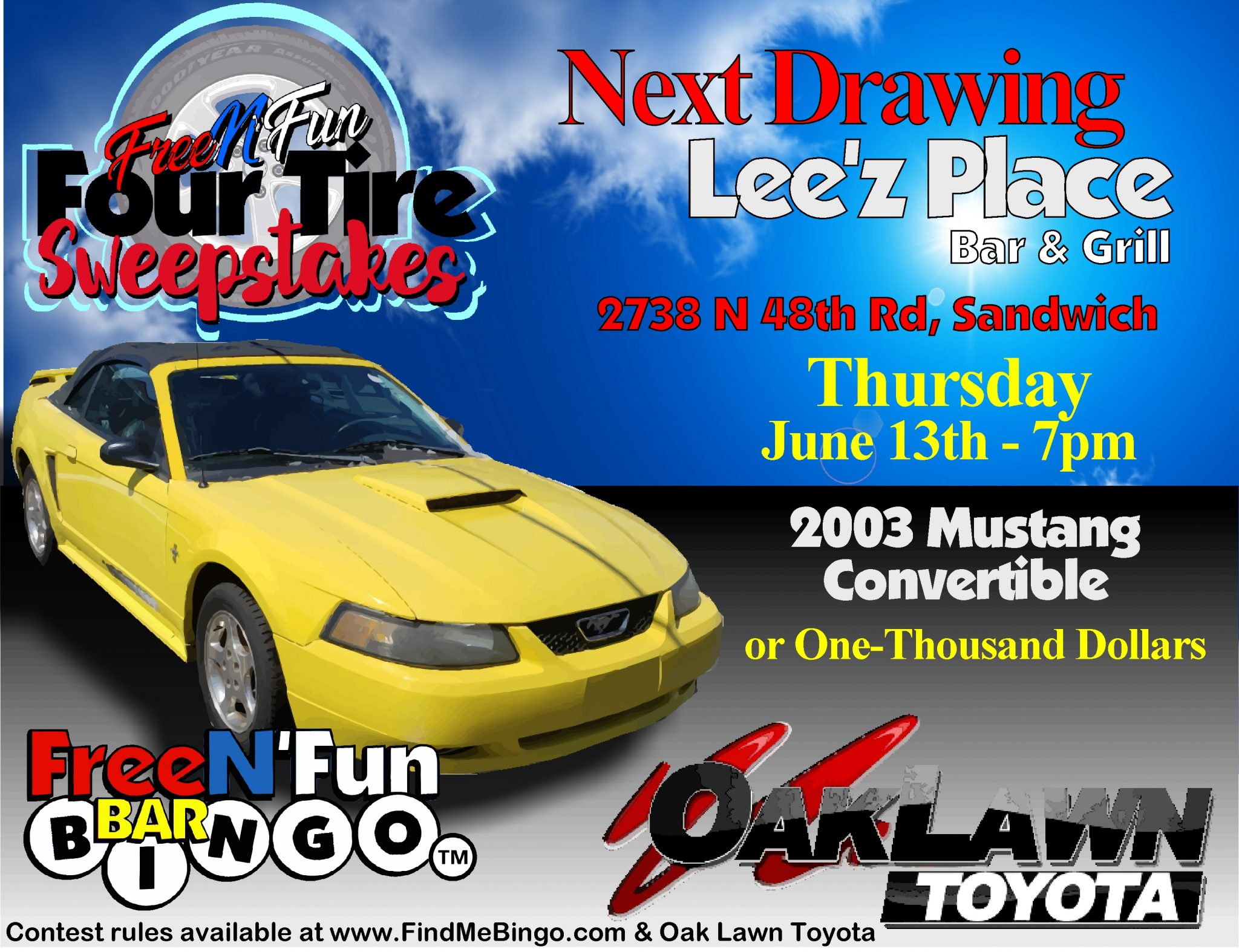Lee'z Place Bar and Grill, 2738 N 48th Rd, Sandwich, IL 60548 Thursday June 13th 7pm
