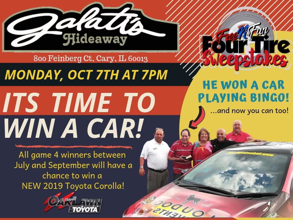 Galati's Hideaway, 800 Feinberg Ct, Cary IL 60013, Monday October 7th 7pm